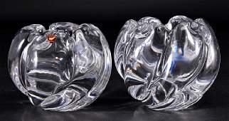 Pair Orrefors Crystal Signed Rose Bowls