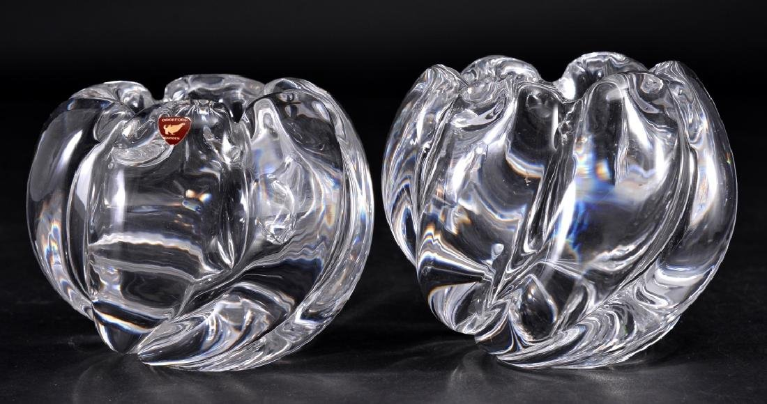 Pair Orrefors Crystal Signed Rose Bowls
