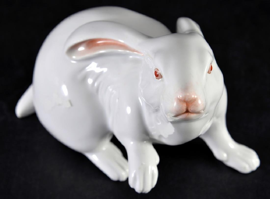 Herend Natural White Rabbit w/One Paw Raised