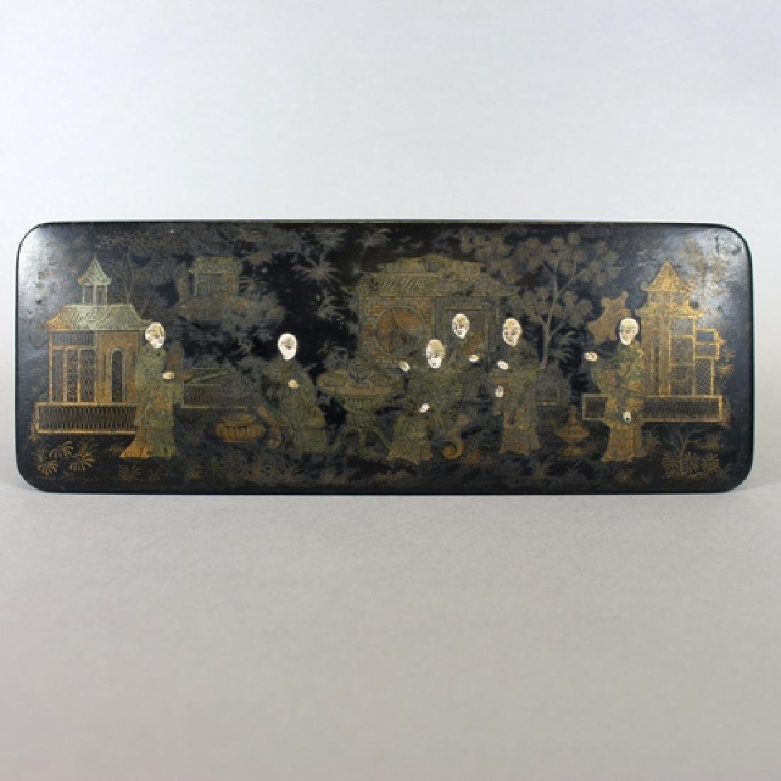 19th Century Chinese Black Lacquered Pen Box