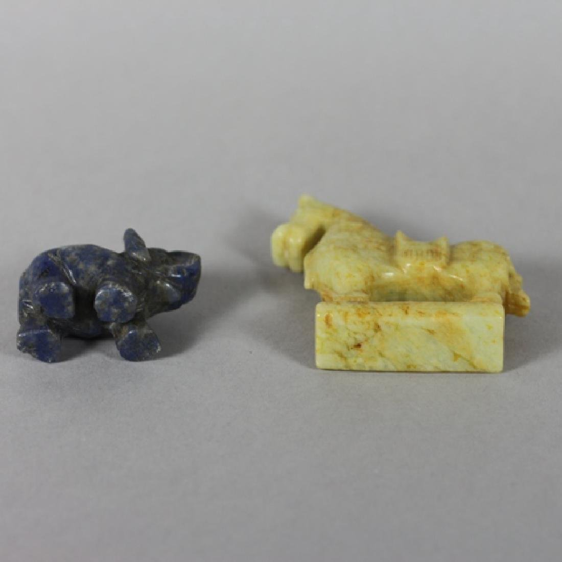 Carved Lapis Lazuli Elephant and Brown Jade Horse - 2