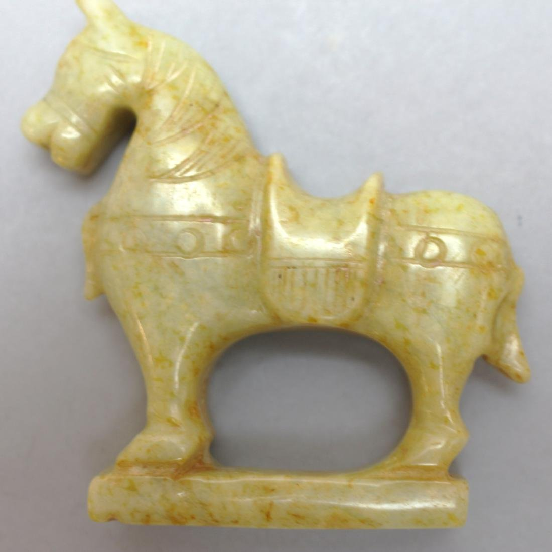 Carved Lapis Lazuli Elephant and Brown Jade Horse - 6