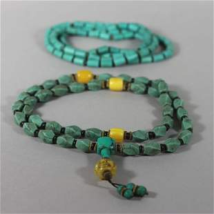 Tibetan Turquoise Mala Beads and Necklace