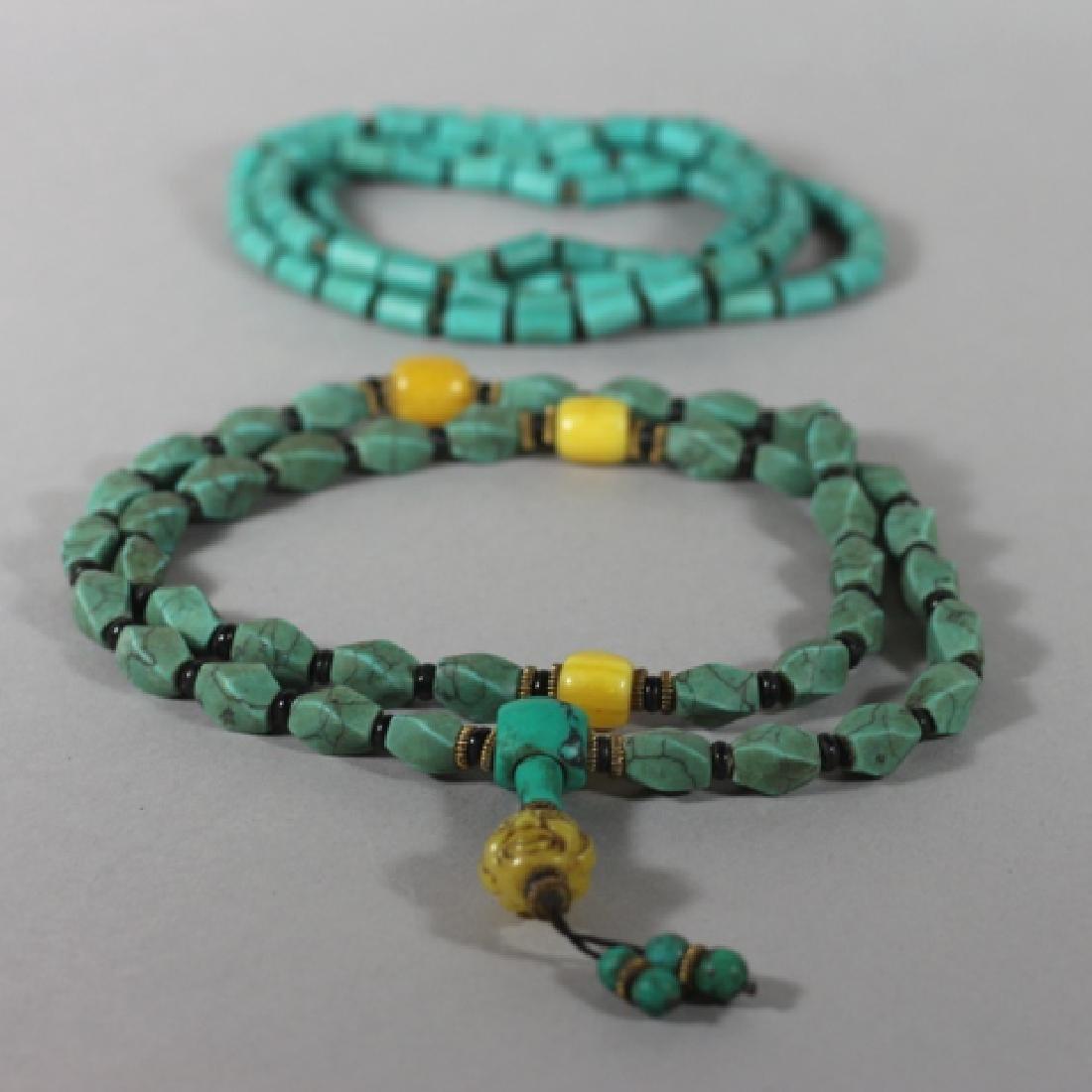 Tibetan Turquoise Mala Beads and Necklace