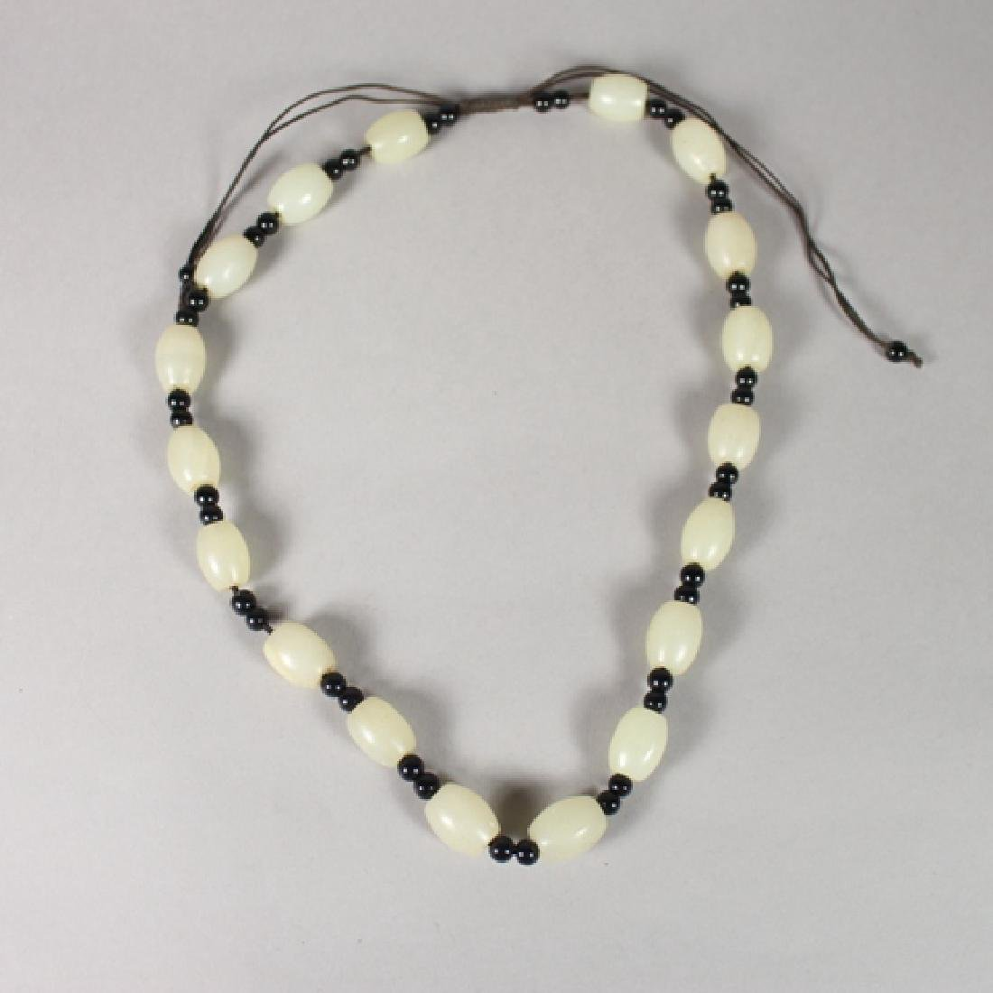 White Jade Beaded Necklaces with Figural Pendants - 4
