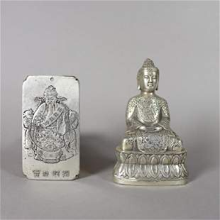 Chinese Silver Pendant and Tibetan Silver Buddha