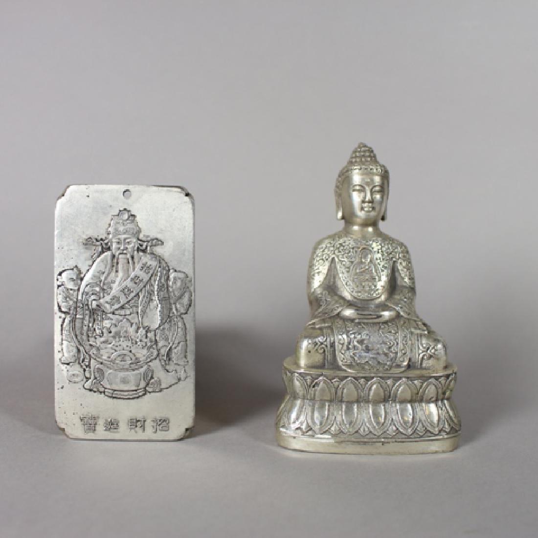 Chinese Silver Pendant and Tibetan Silver Buddha