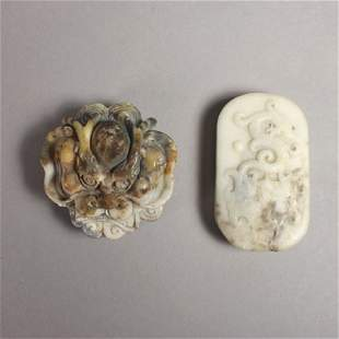 Two Chinese Carved Hardstone Belt Buckles