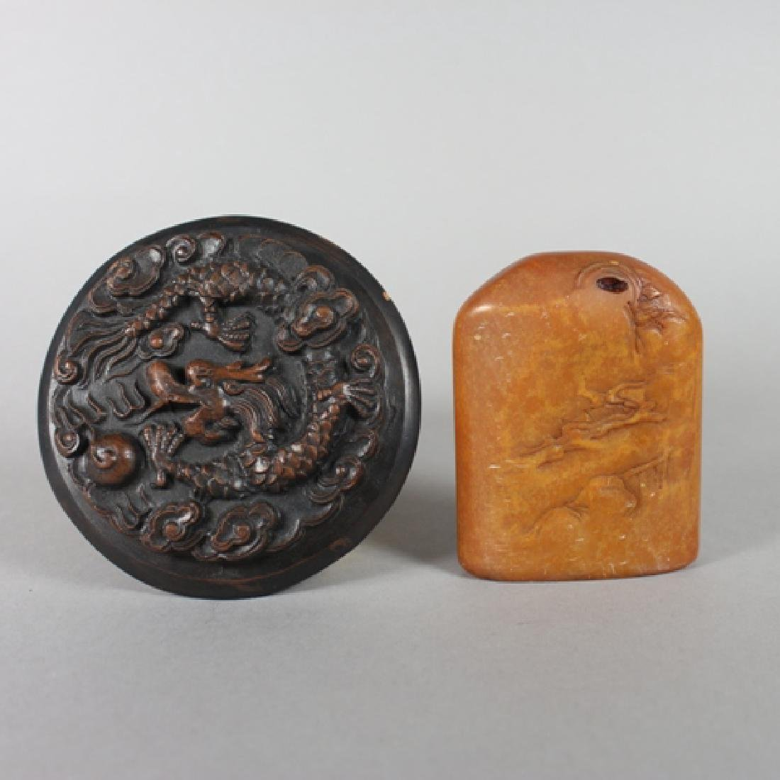 Carved Soapstone and Molded Ceramic Paperweights
