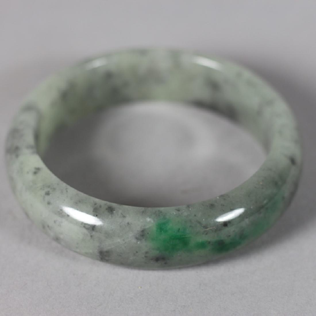 Three 20th Century Jade Bangles and Napkin Ring - 2