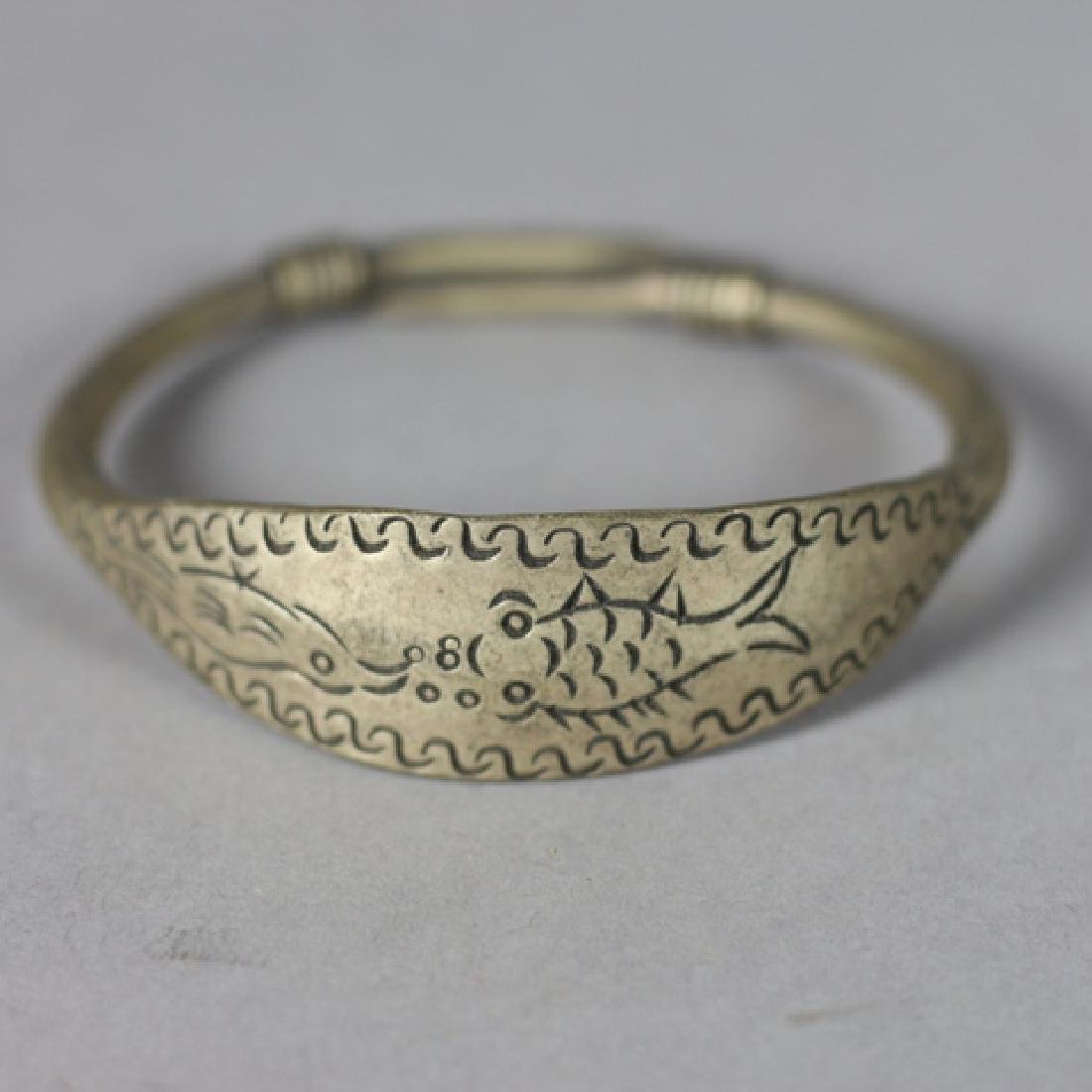 Four Antique Chinese Brass Bangles - 2
