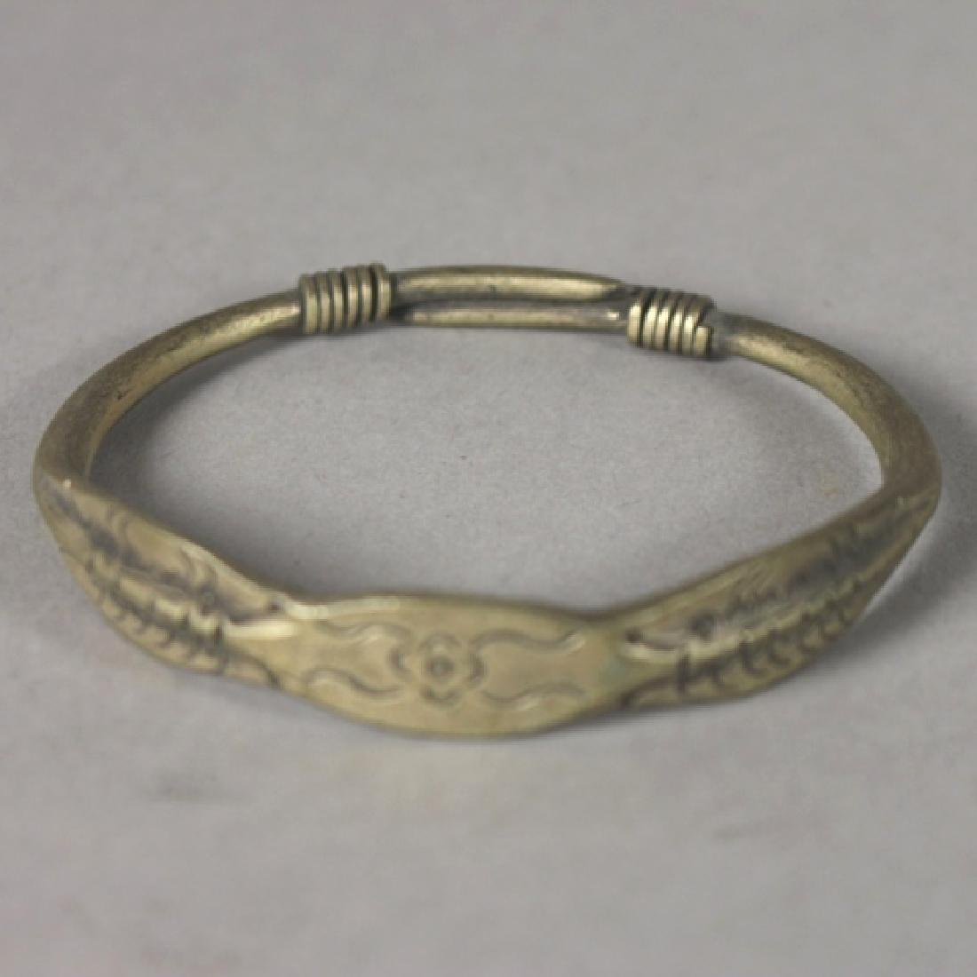 Four Antique Chinese Brass Bangles - 7
