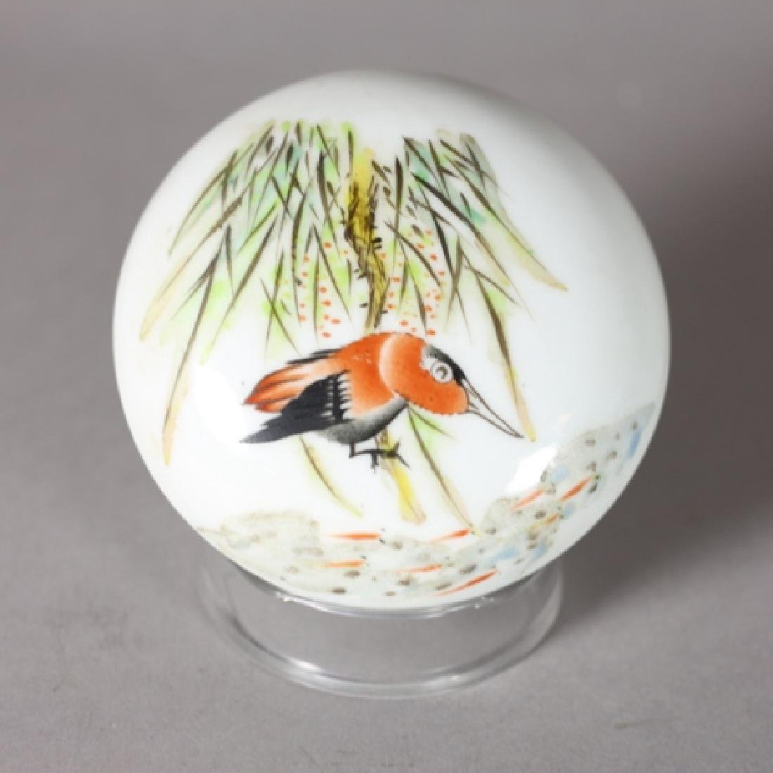 Chinese Hand Painted Porcelain Seal Paste Box