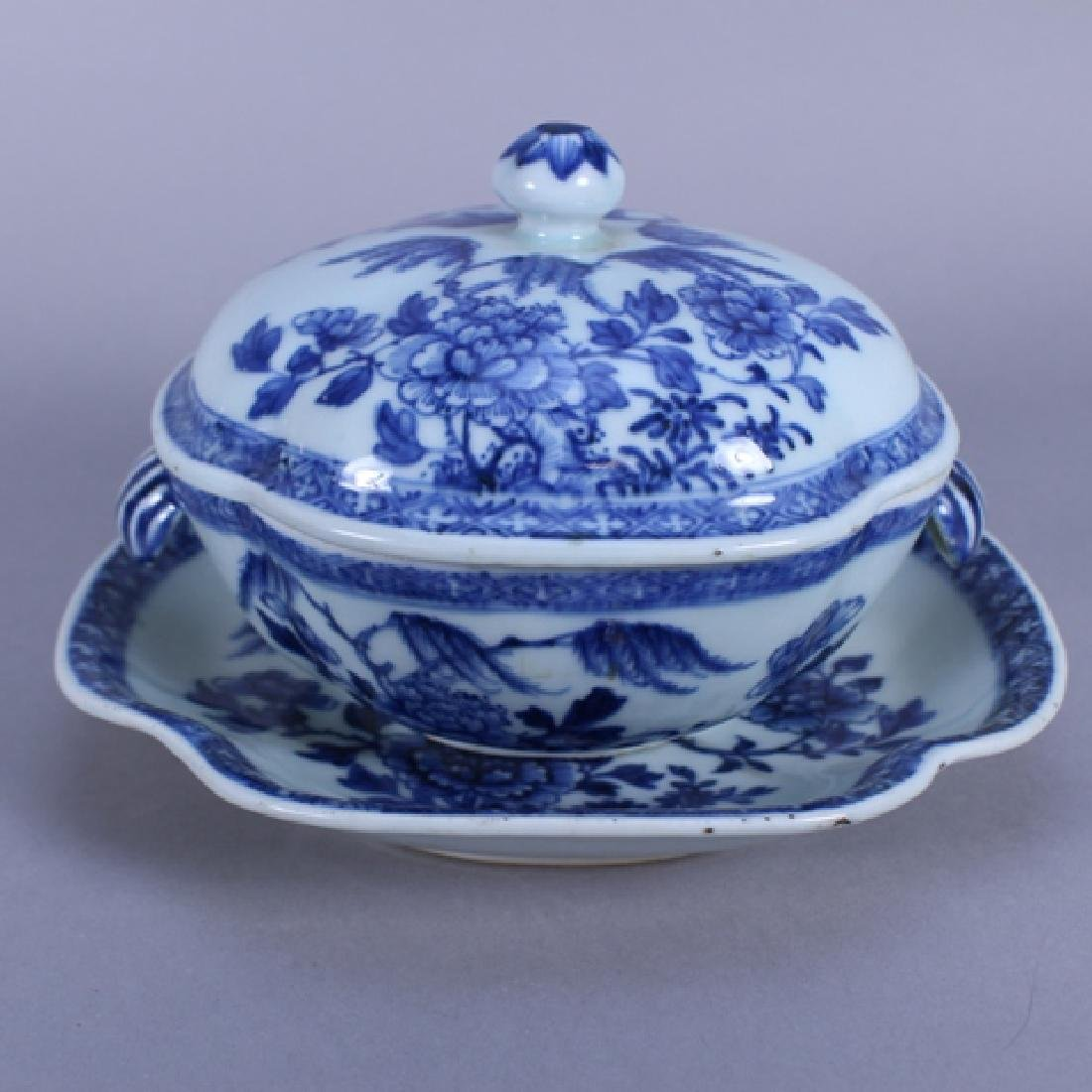 18th C. Chinese Porcelain Covered Bowl & Tray