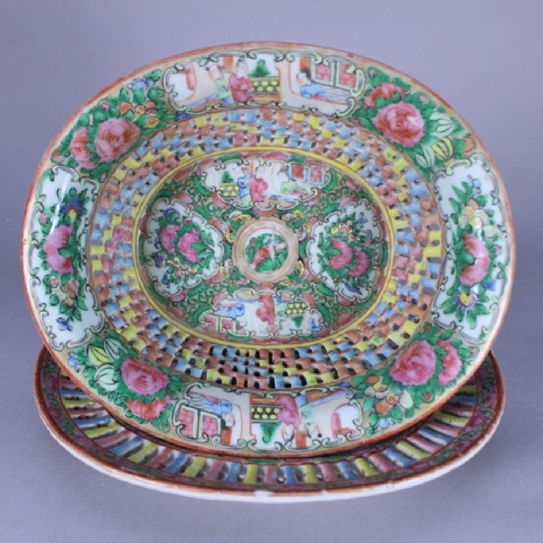 19th C. Chinese Rose Medallion Bowl and Under plate