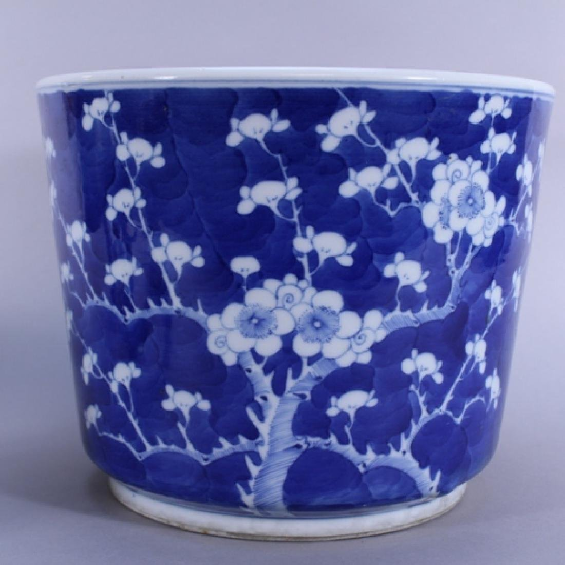 Pair of Chinese Blue and White Planters on Stands - 3