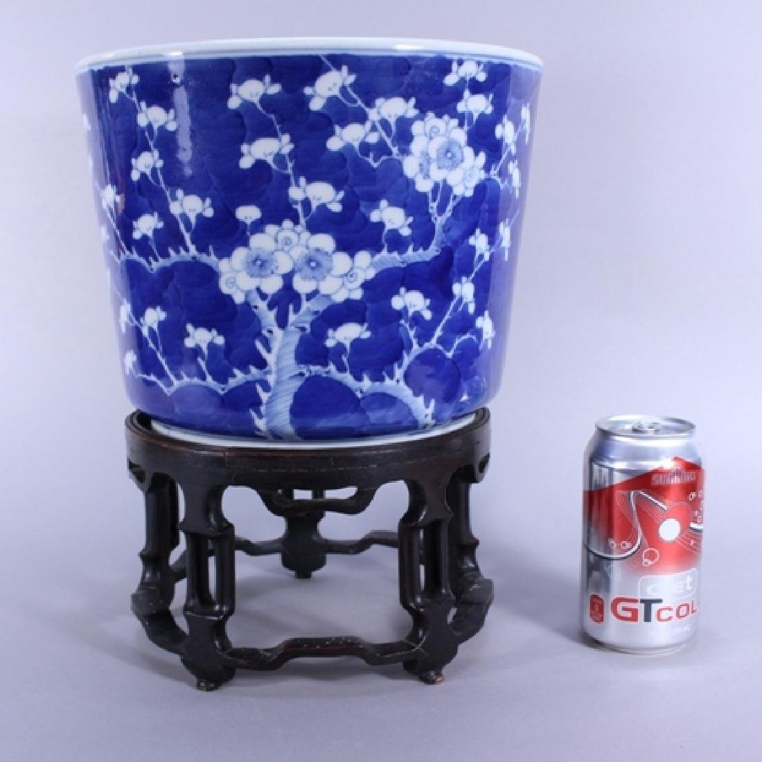 Pair of Chinese Blue and White Planters on Stands - 7