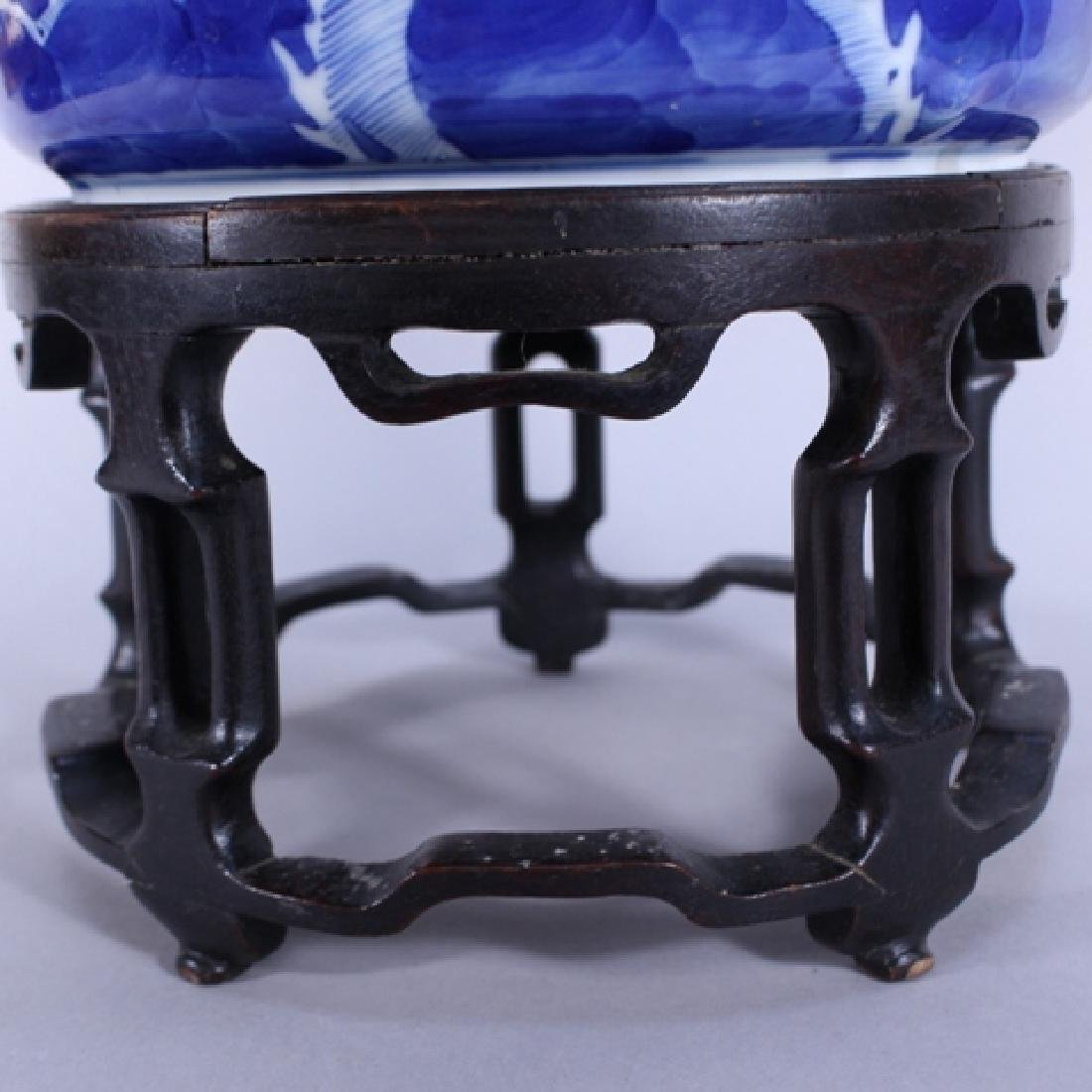 Pair of Chinese Blue and White Planters on Stands - 8