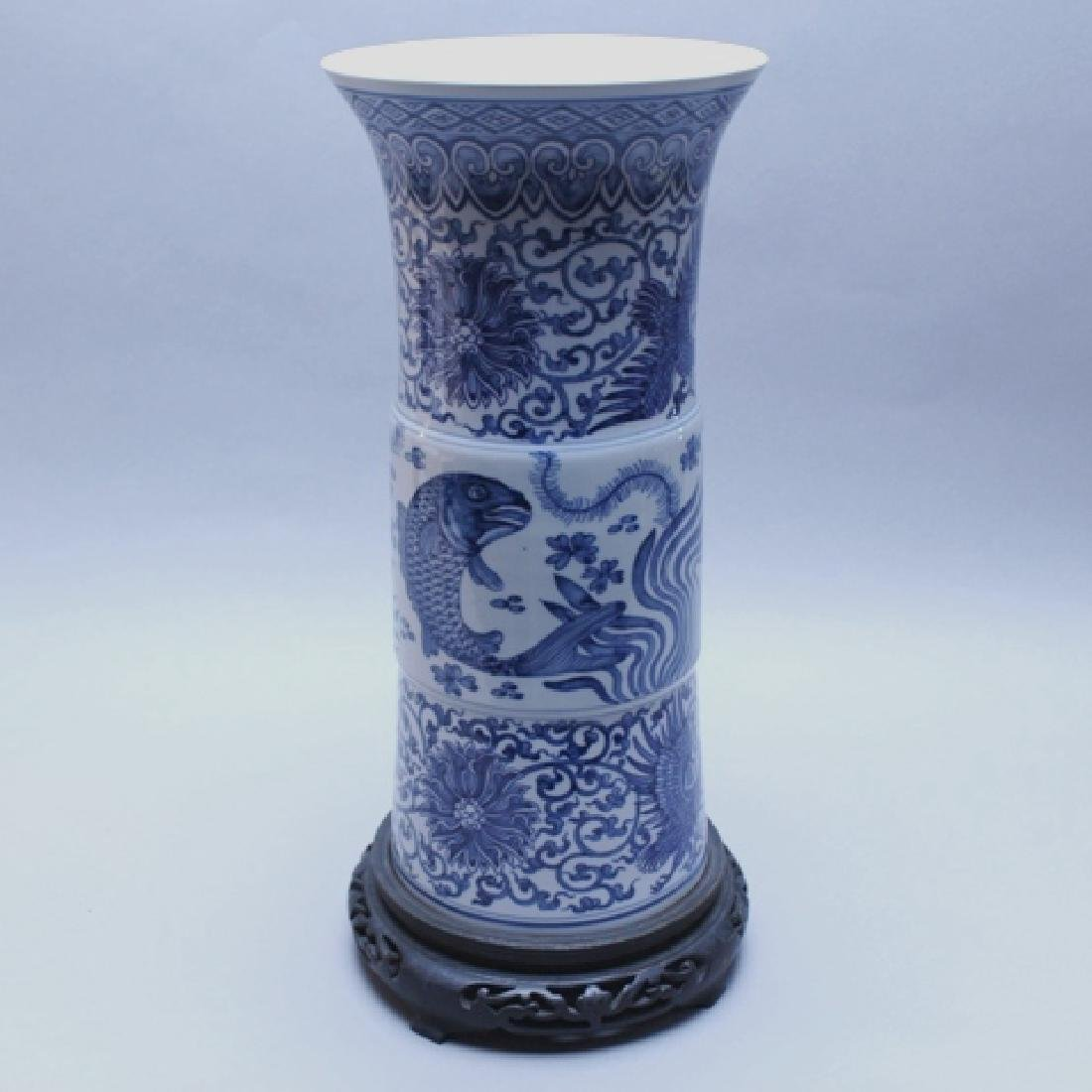 Decorative Blue and White Porcelain Gu Vase