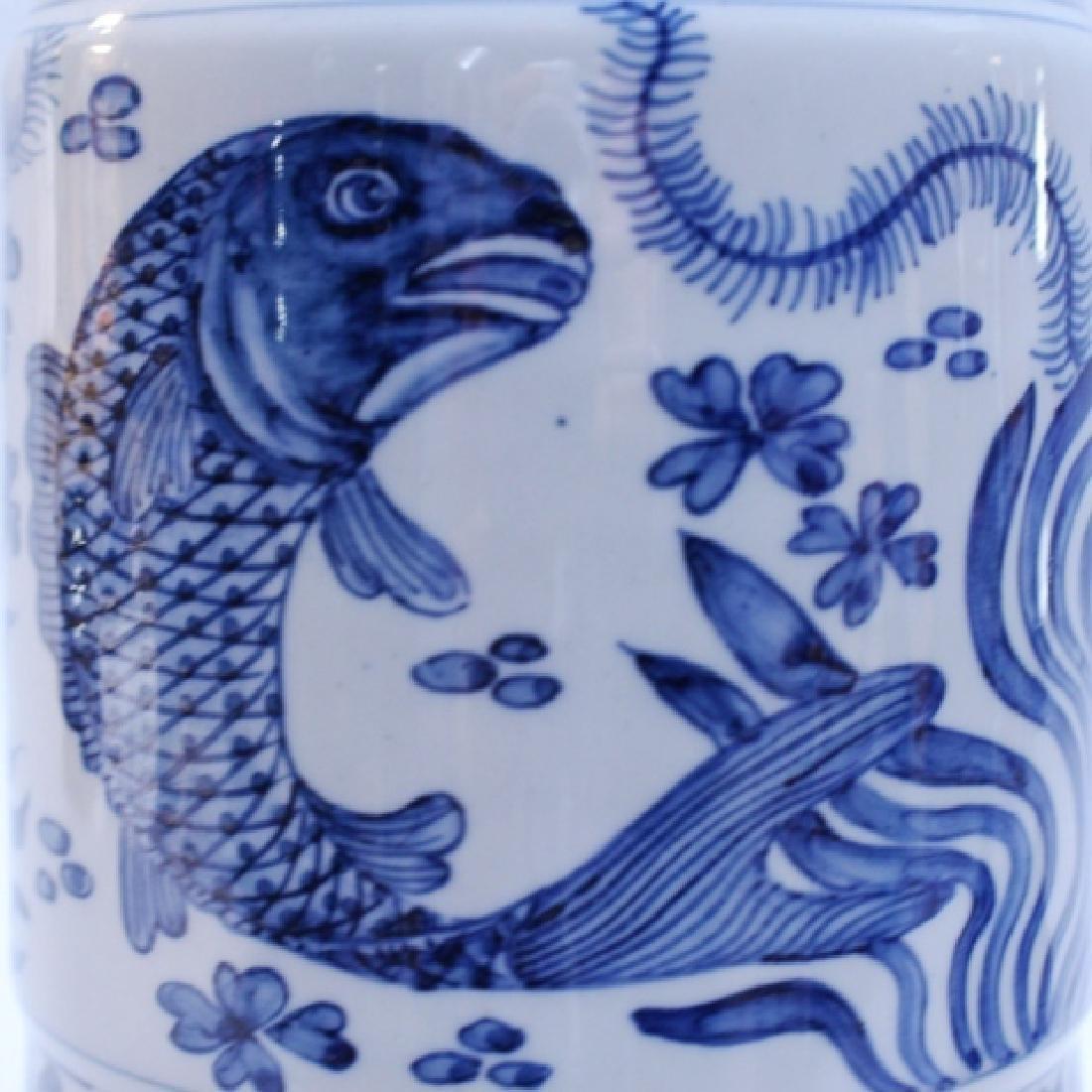 Decorative Blue and White Porcelain Gu Vase - 2