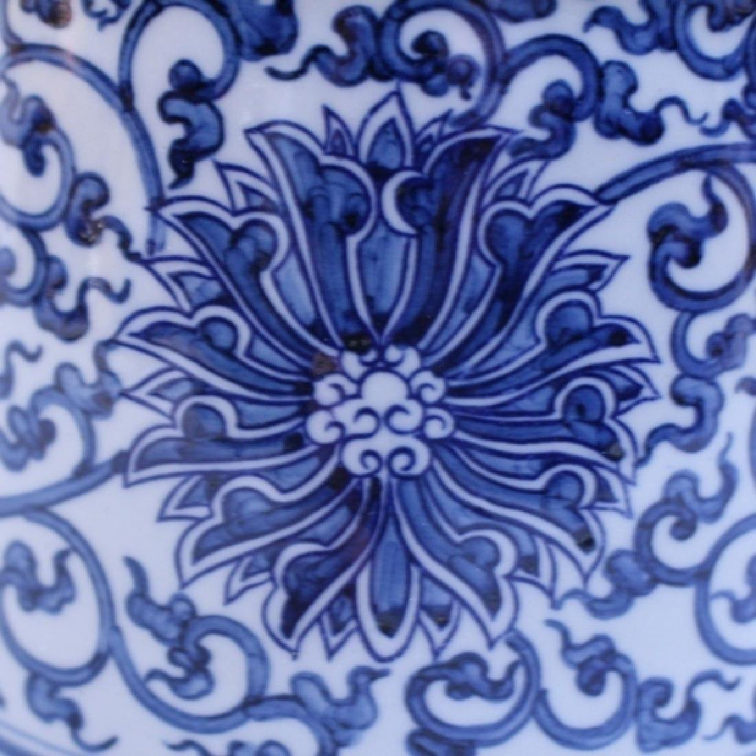 Decorative Blue and White Porcelain Gu Vase - 3