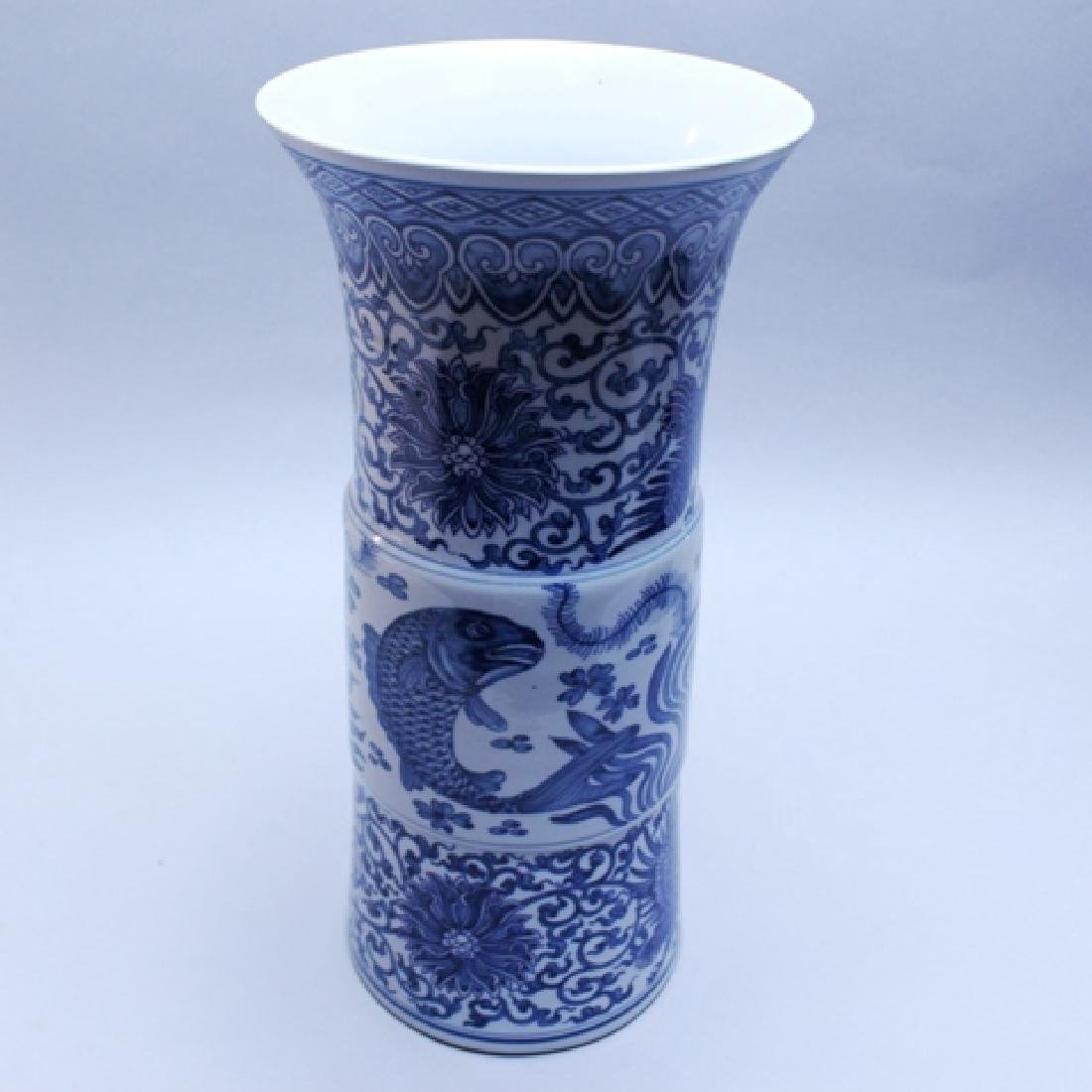 Decorative Blue and White Porcelain Gu Vase - 4