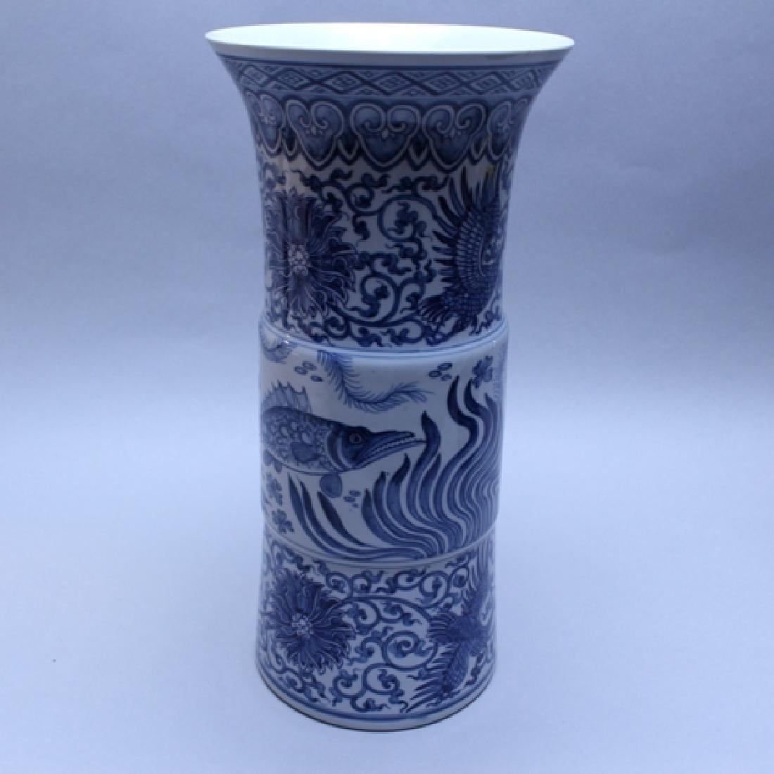 Decorative Blue and White Porcelain Gu Vase - 5