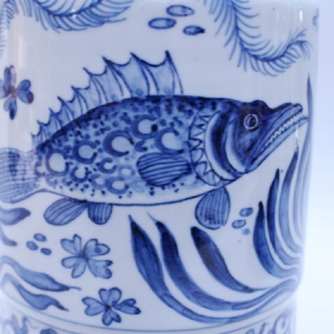 Decorative Blue and White Porcelain Gu Vase - 6