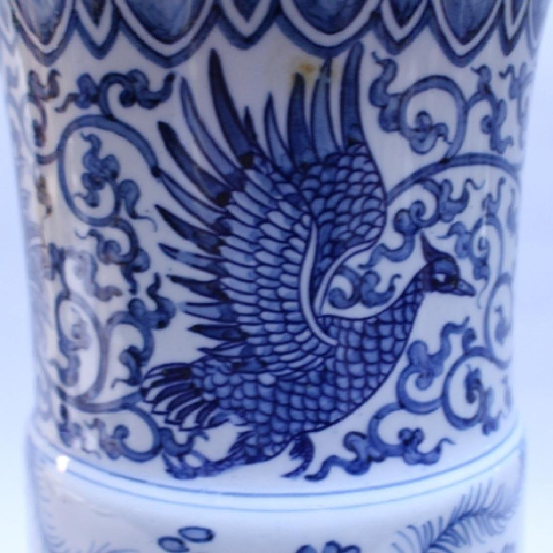 Decorative Blue and White Porcelain Gu Vase - 7