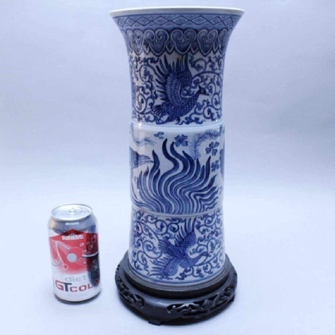 Decorative Blue and White Porcelain Gu Vase - 9