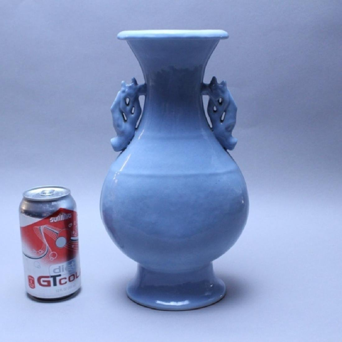 Pair of Blue Chinese Export Vase Molded Ceramic - 5
