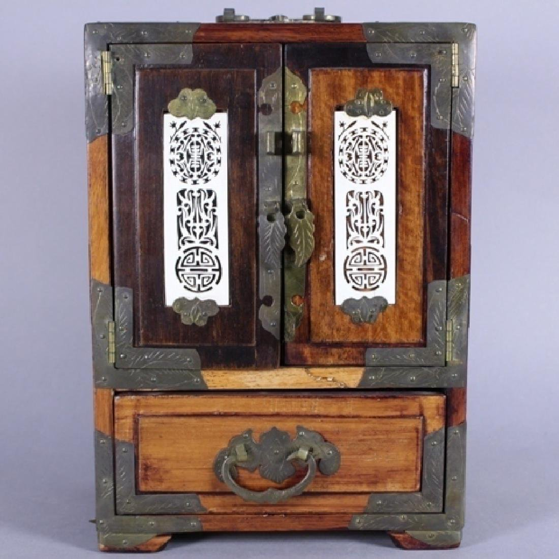 Chinese Rosewood Jewelry Box with Bone Accents
