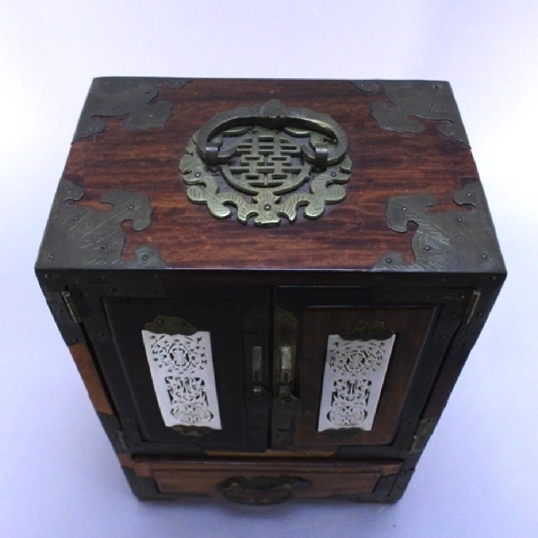 Chinese Rosewood Jewelry Box with Bone Accents - 7