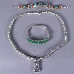 Tibetan Silver Bracelet and Buddha Pendant Necklace