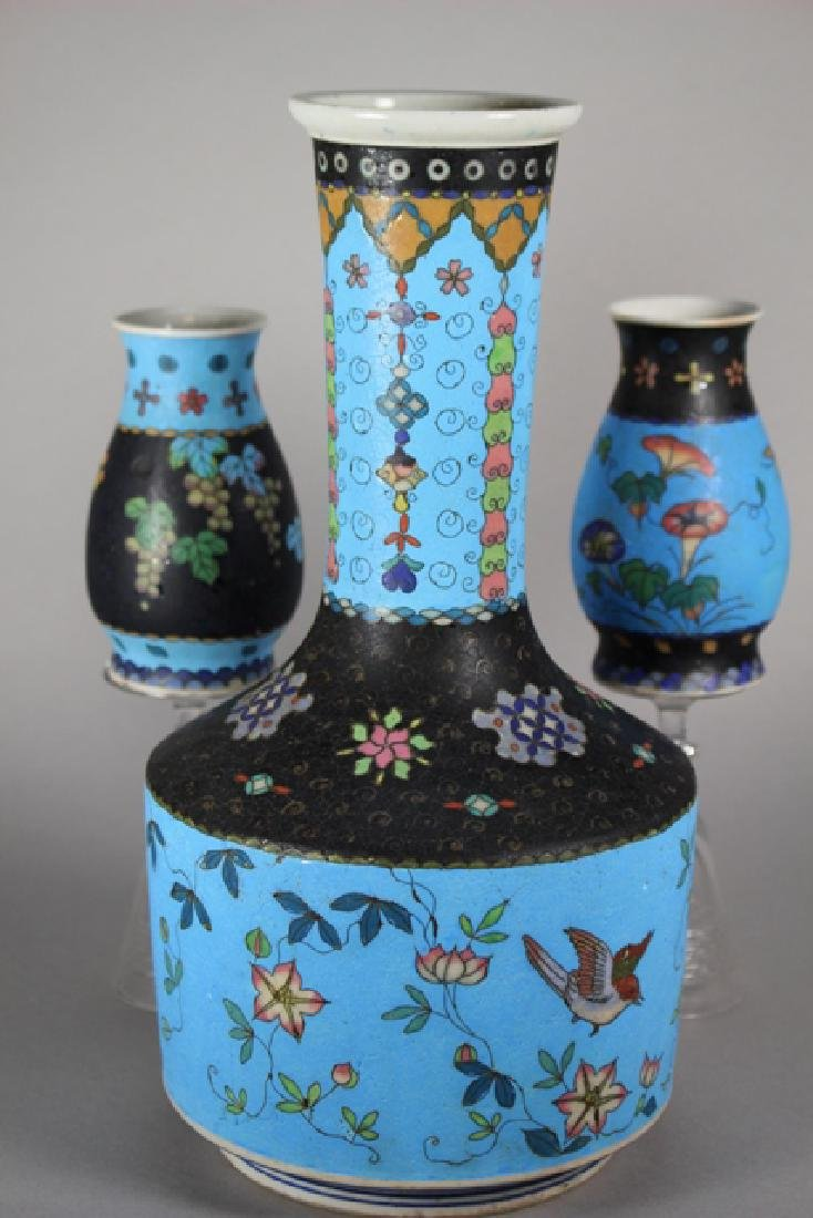Cloisonne And Enameled Decorated Vases