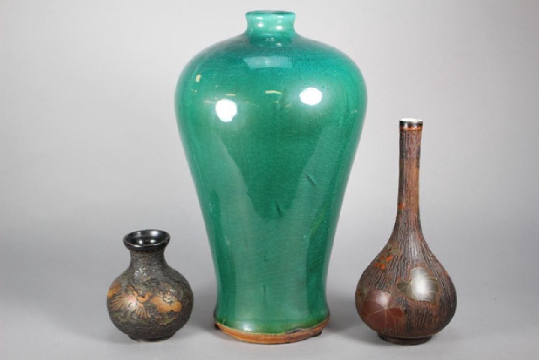 Chinese Porcelain & Tree Bark Cloisonne Vases - 3