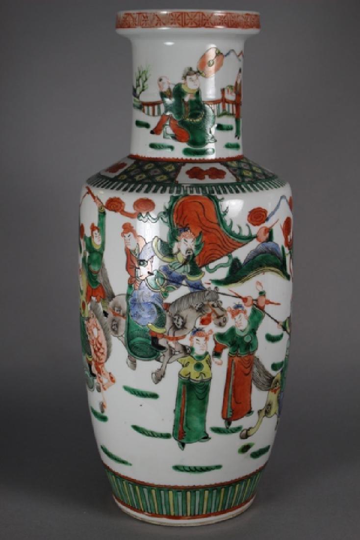 Pair Of Chinese Famille Verte Porcelain Vases - 3