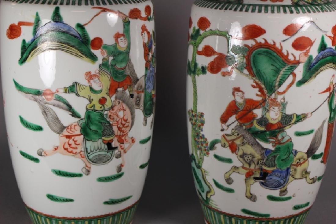Pair Of Chinese Famille Verte Porcelain Vases - 6