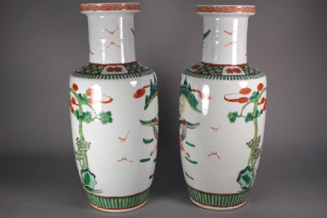 Pair Of Chinese Famille Verte Porcelain Vases - 7