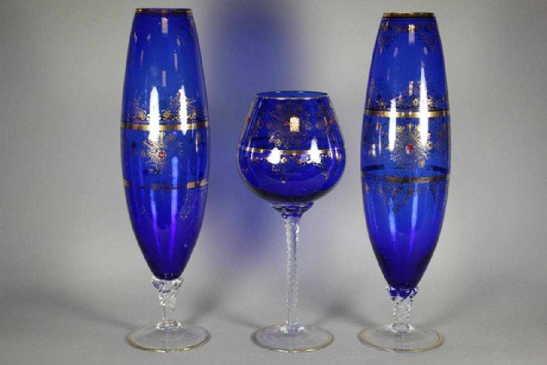 Venetian Glass Set Tall Form Vases and Goblet