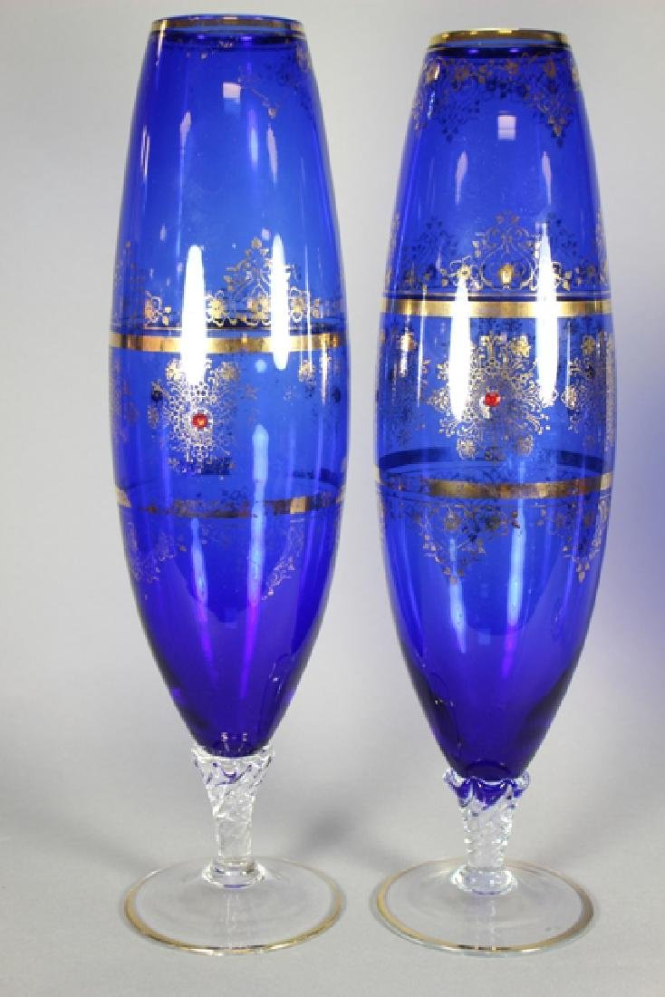 Venetian Glass Set Tall Form Vases and Goblet - 2