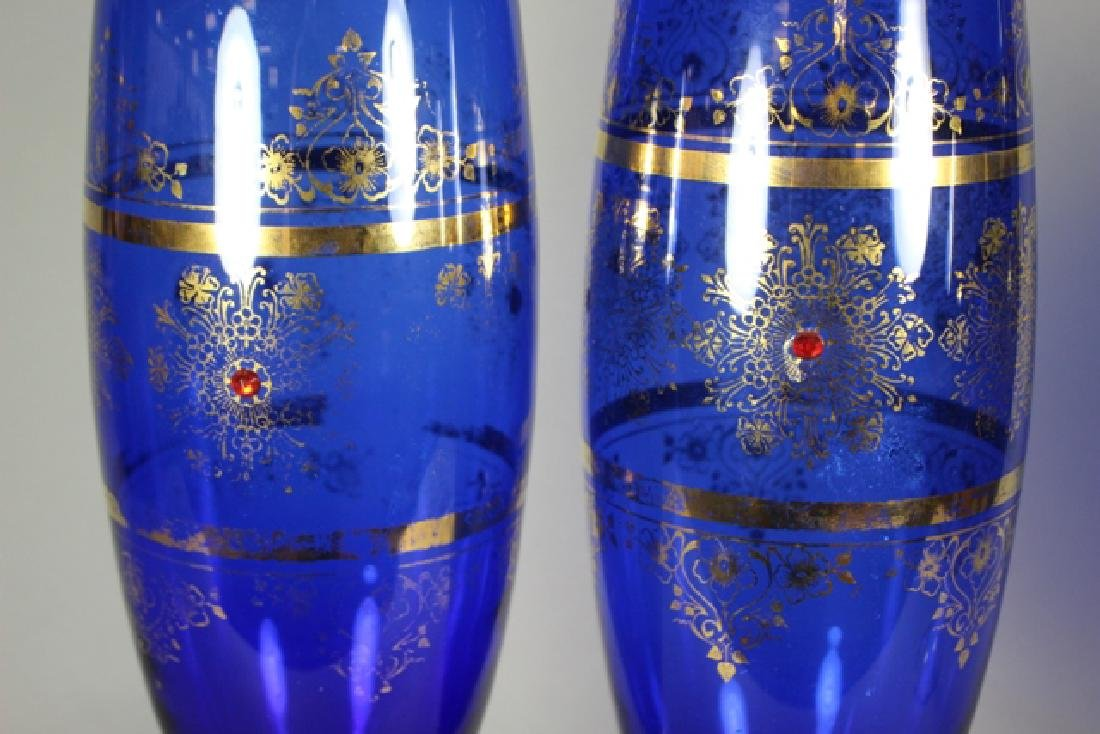 Venetian Glass Set Tall Form Vases and Goblet - 3
