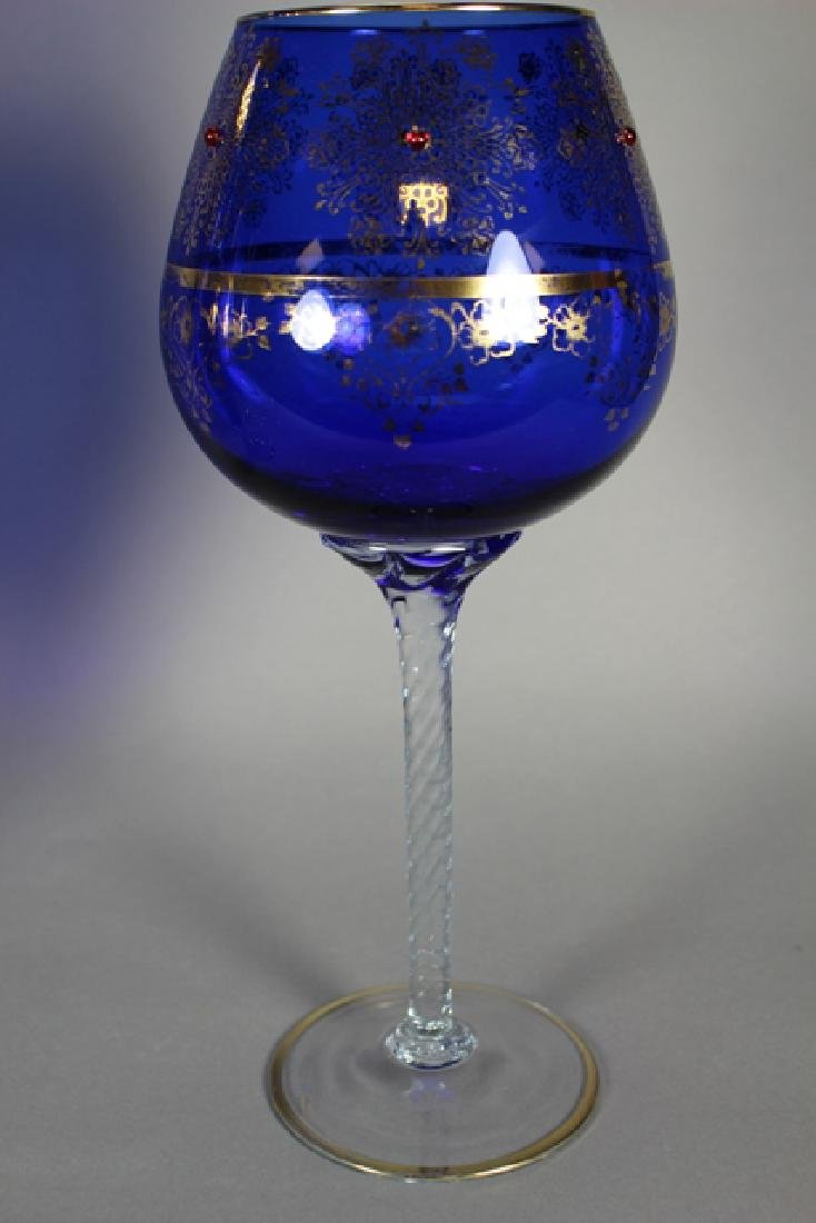 Venetian Glass Set Tall Form Vases and Goblet - 5
