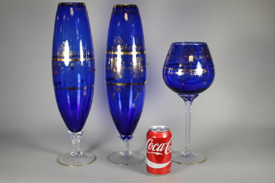 Venetian Glass Set Tall Form Vases and Goblet - 6