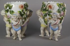 Pair of Dresden Egg Vases with Cherubs