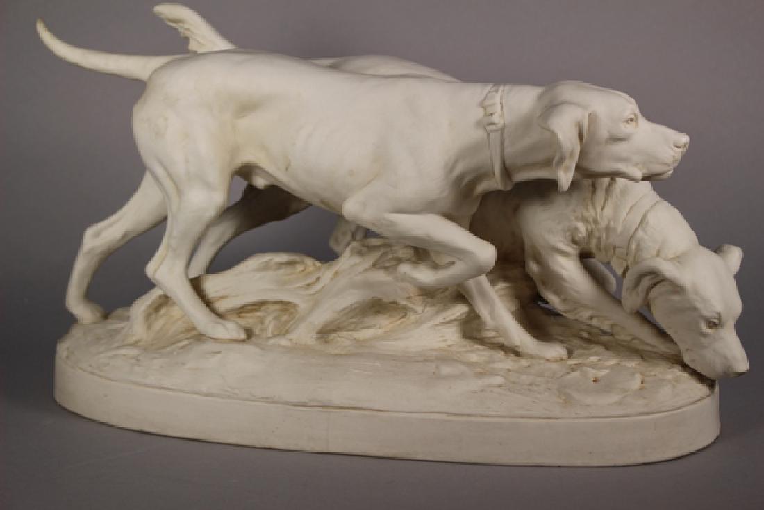 Royal Dux Bisque Porcelain Hunting Dogs Figural