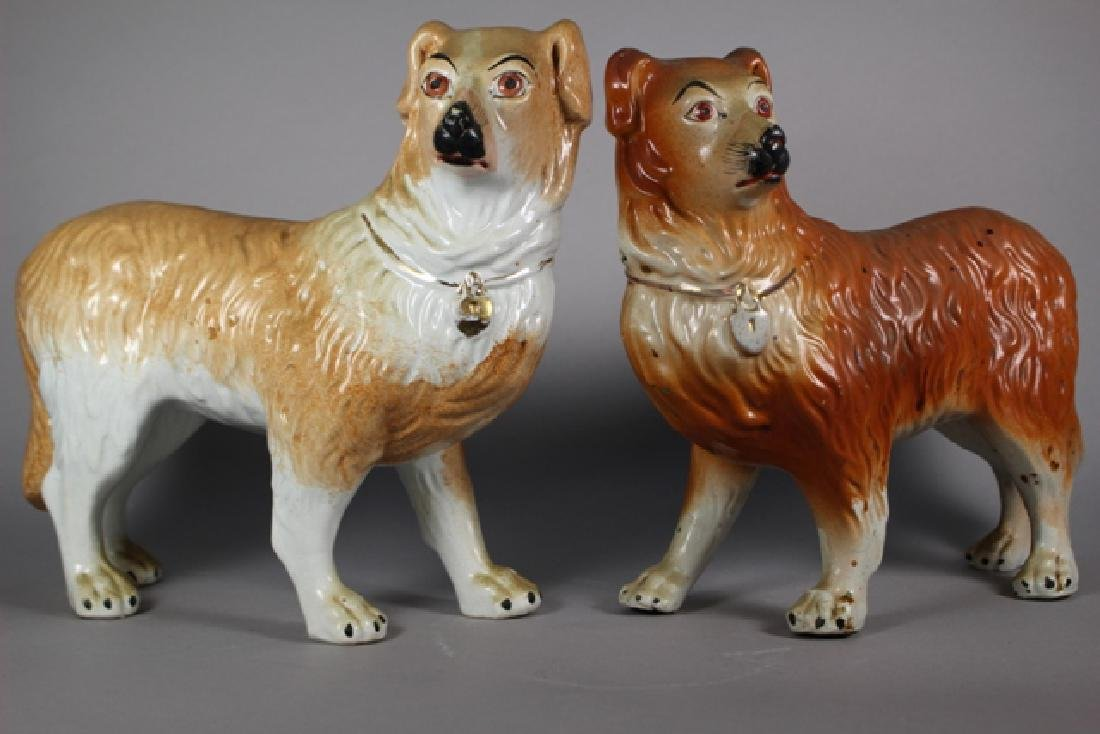 Pair of Staffordshire Standing Collie Dogs