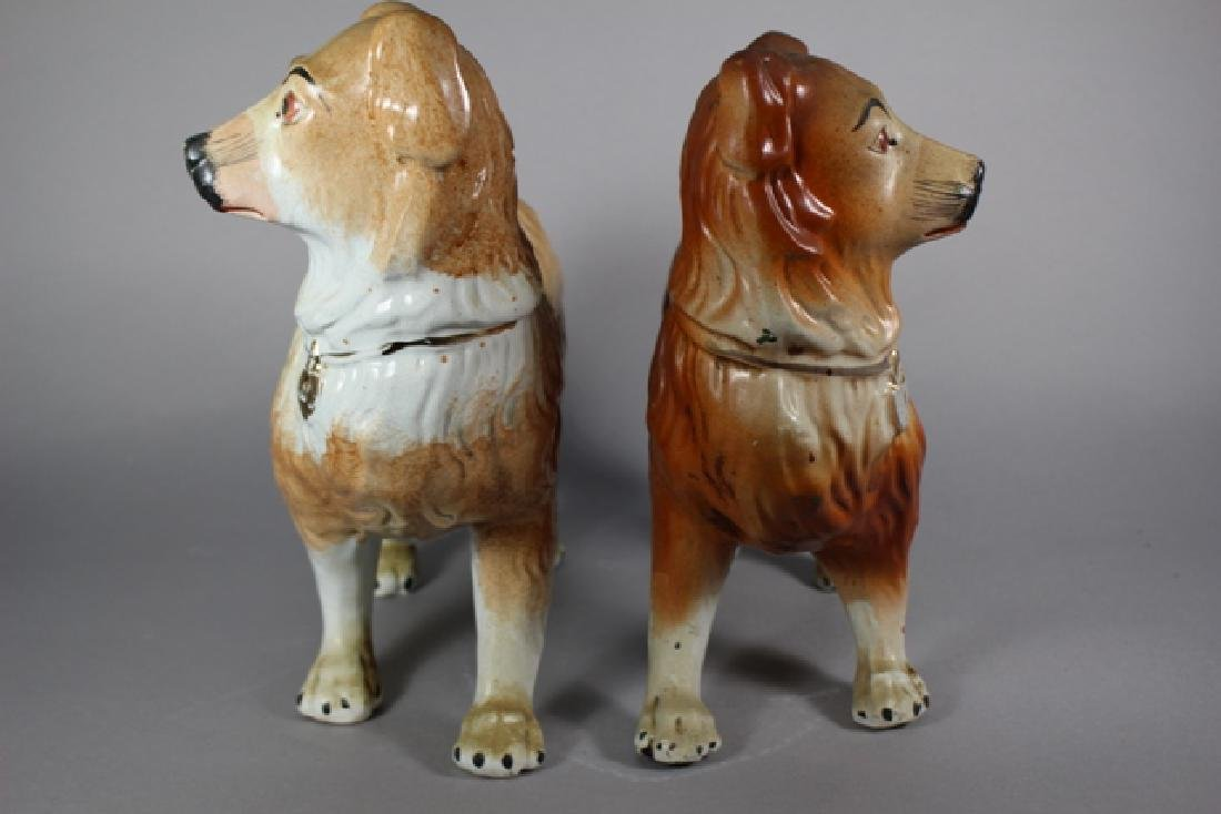 Pair of Staffordshire Standing Collie Dogs - 3