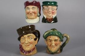 Four Royal Doulton Miniature Character Jugs