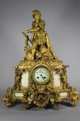 Large French Bronze Dore Figural Clock with Soldier